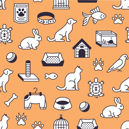 Pet shop vector seamless pattern with flat line icons of dog house, cat food, bird cage, rabbit, fish aquarium, animal paw. Black white orange color background, wallpaper for veterinary clinic. Illustration
