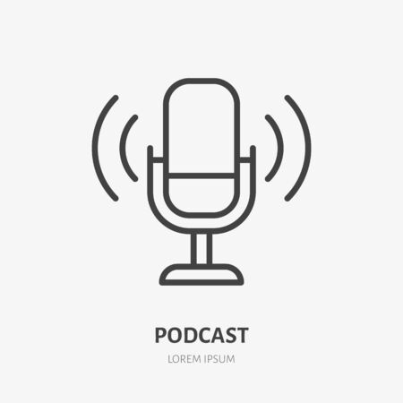 Podcast line icon, vector pictogram of microphone with sound waves. Audio illustration, sign for music studio.