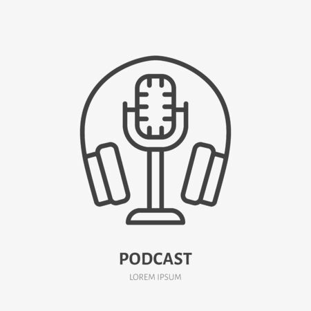 Podcast line icon, vector pictogram of microphone with headphone. Audio illustration, sign for music studio.