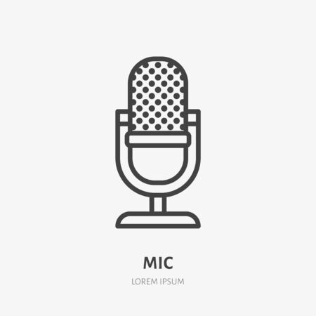 Podcast line icon, vector pictogram of microphone. Audio illustration, sign for music studio. Illustration