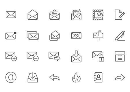 Email line icons set. Letter, spam mail, open envelope, postage stamp, mailbox, new document minimal vector illustrations. Simple flat outline signs for web. Pixel Perfect. Editable Stroke.