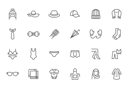 Clothing accessory line icon set. Bow tie, handkerchief, woman hat, sunglasses, umbrella, hijab minimal vector illustrations. Simple outline signs for fashion app. Pixel Perfect. Editable Stroke. Standard-Bild - 149979413