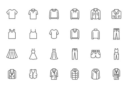 Clothing line icon set. Dress, polo t-shirt, jeans, winter coat, jacket pants, skirt minimal vector illustrations. Simple outline signs for fashion application. Pixel Perfect. Editable Strokes.