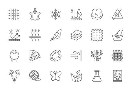 Fabric feature flat line icons set. Clothes symbols silk, cotton, breathable, waterproof material, handwash cashmere, yarn vector illustrations. Outline signs for garment properties, textile industry.
