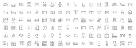 Furniture flat line icons set. Kitchen, bedroom, sofa table, bookcase closet, chair, mattress, lamps, ladder vector illustrations. Outline signs of house interior, editable stroke.