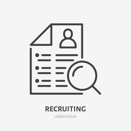 Job resume flat line icon. Hr searching talent vector illustration. Thin sign of recruiting, hiring pictogram.