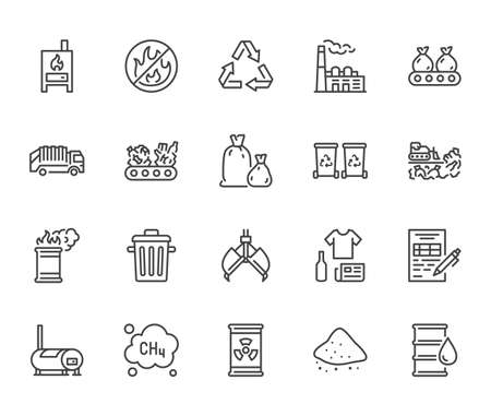 Waste recycling flat line icons set. Garbage bag, truck, incinerator factory, container, bin, rubbish dump vector illustration. Outline signs of trash management. Pixel perfect. Editable Stroke. Vektorgrafik