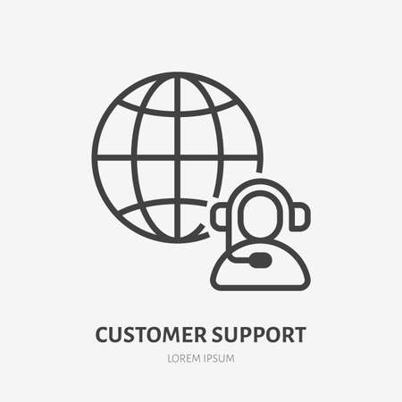 Customer customer line icon, vector pictogram of client support, online assistant. Operator in headset with globe stroke sign for call center.