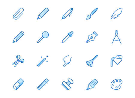 Drawing tools line icons set. Pen, pencil, paintbrush, dropper, stamp, smudge, paint bucket minimal vector illustrations. Simple outline signs for web interface. Blue color, Editable Stroke. 矢量图像