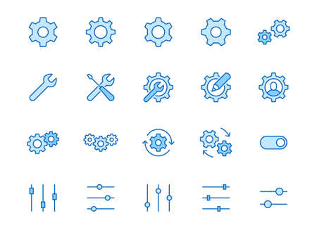 Gear, cogwheel line icons set. App settings button, slider, wrench tool, fix concept minimal vector illustrations. Simple flat outline signs for web interface. Blue color, Editable Stroke. 矢量图像