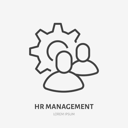 Team work line icon, vector pictogram of collaboration process. People in cog wheel, efficiency stroke sign for hr management.