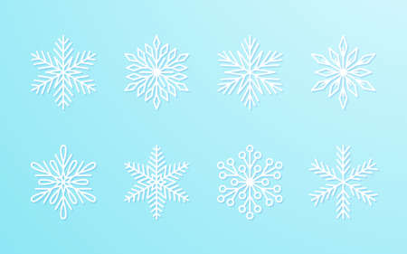 Christmas snowflakes collection white isolated on blue gradient background. Cute snow icons with intricate silhouette. Nice line doodle decorative element for New year banner, cards or ornament.