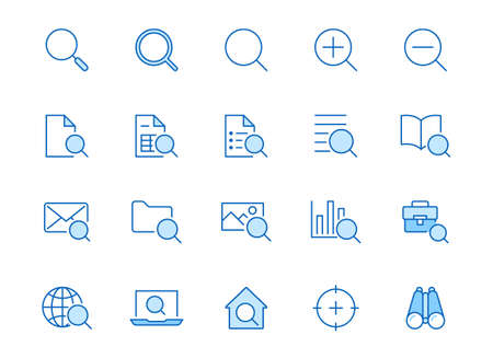 Search line icons set. Zoom, find document, magnify glass symbol, look tool, binoculars minimal vector illustrations. Simple flat outline signs for web interface. Blue color, Editable Stroke.