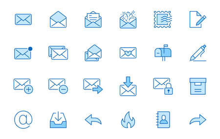 Email line icons set. Letter, spam mail, open envelope, postage stamp, mailbox, new document minimal vector illustrations. Simple flat outline signs for web. Blue color, Editable Stroke.
