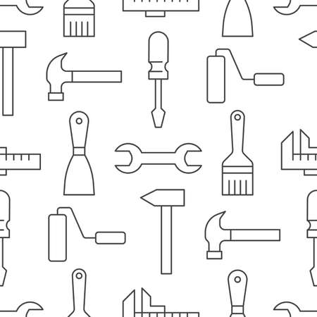 Building tools background, repair equipment seamless pattern with flat line icons of paintbrush, wrench, screwdriver, hammer and others. Construction works vector illustration black white color. 矢量图像
