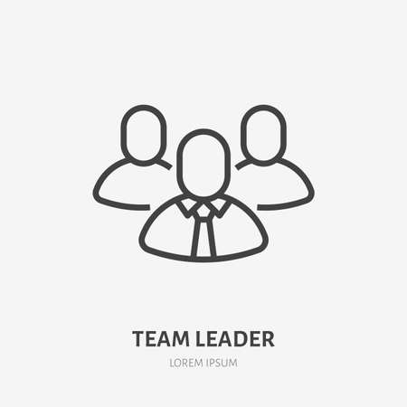 Team leader line icon, vector pictogram of employer with employee. Businessman stroke sign for company. 矢量图像