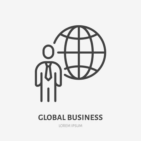 Global business line icon, vector pictogram of globe with businessman. Manager stroke sign for company.
