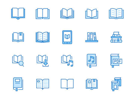 Book line icons set. Open books, dictionary, bible, audio novel, literature education minimal vector illustrations. Simple flat outline sign for web library app. Blue color, Editable Stroke. 矢量图像
