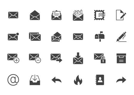 Email flat icons set. Letter, spam mail, open envelope, postage stamp, mailbox, new document minimal glyph silhouette vector illustrations. Simple black solid signs for web interface. 矢量图像