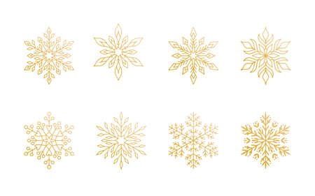 Christmas snowflakes collection isolated on white background. Cute gold gradient snow icons with intricate silhouette. Nice line doodle decorative element for New year banner, cards or ornament.