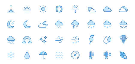 Weather line icons set. Sun, rain, thunder storm, dew, wind, snow cloud, night sky minimal vector illustrations. Simple flat outline signs for web, forecast app. Blue color, Editable Stroke.