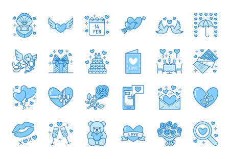 Valentines day flat line icons. Love, romance symbols - hearts, engagement ring, wedding cake, Cupid, romantic date card. Thin linear signs for february 14 celebration. Blue color, Editable Stroke.