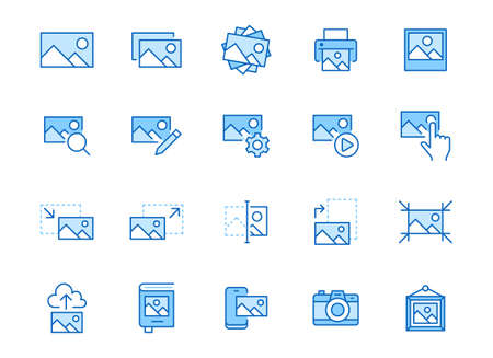 Photo line icon set. Image gallery, picture frame, printer, file resize, camera minimal vector illustrations. Simple outline signs for photos editor application. Blue color, Editable Stroke.