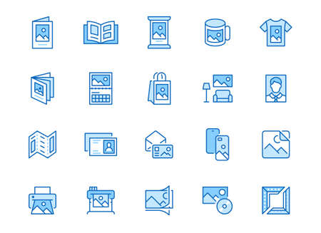 Photo printing line icon set. Brand identity printed on products like brochure, banner, mug, plotter vector illustrations. Simple outline signs for polygraphy. Blue color, Editable Stroke. 矢量图像