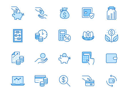 Money income line icon set. Pension fund, profit growth, piggy bank, finance capital minimal vector illustration. Simple outline signs for investment application. Blue color, Editable Stroke.