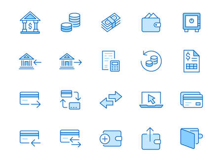 Finance line icon set. Money transfer, bank account, credit card payment cash back minimal vector illustration. Simple outline sign for online banking application. Blue color, Editable Stroke. 矢量图像