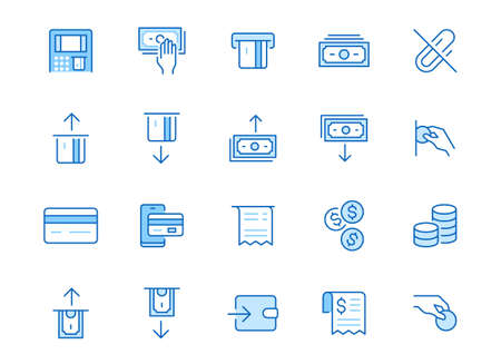 Atm machine line icon set. Withdraw money, deposit, hand taking cash, receipt minimal vector illustration. Simple outline signs for payment terminal application. Blue color, Editable Stroke. 矢量图像