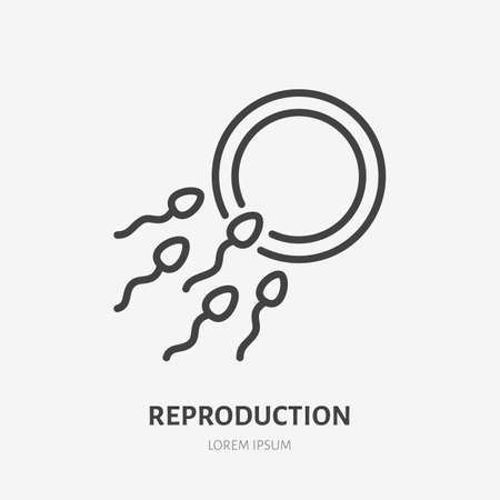 Sperm and egg flat line icon. Vector outline illustration of reproductive system. Black color thin linear sign for ivf infertility treatment.