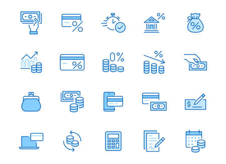 Money loan line icon set. Credit score, low interest, discount card, mortgage percent, tax minimal vector illustration. Simple outline signs for bank application. Blue color, Editable Stroke. 矢量图像