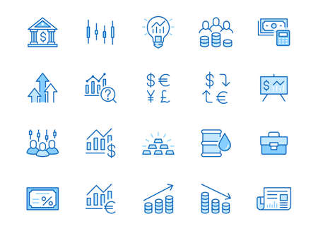 Investment line icon set. Stock market, bond, financial analysis, broker, income increase minimal vector illustration. Simple outline signs investor application. Blue color, Editable Stroke.