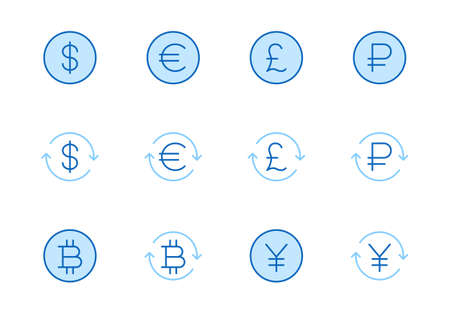 Currency exchange line icon set. Dollar, euro, pound, russian ruble, yen, bitcoin minimal vector illustration. Simple outline money signs for financial application. Blue color, Editable Stroke.