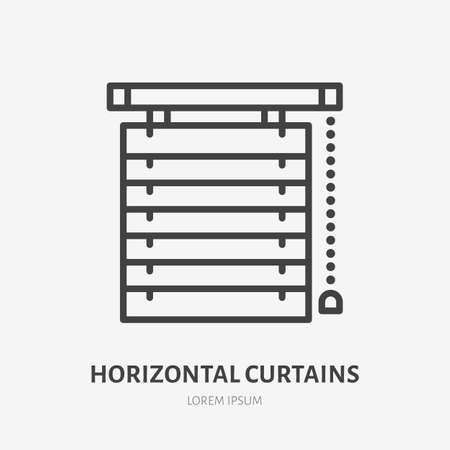 Window horizontal jalousie flat line icon. Vector outline illustration of blind curtain. Black color thin linear sign for home decor.