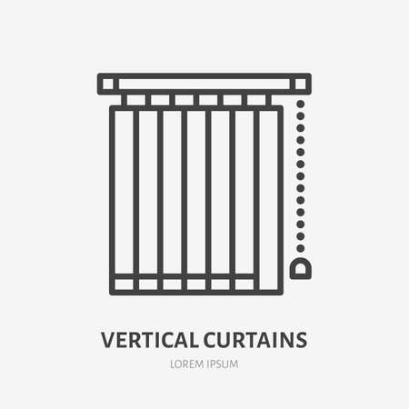 Window vertical jalousie flat line icon. Vector outline illustration of blind curtain. Black color thin linear sign for home decor.