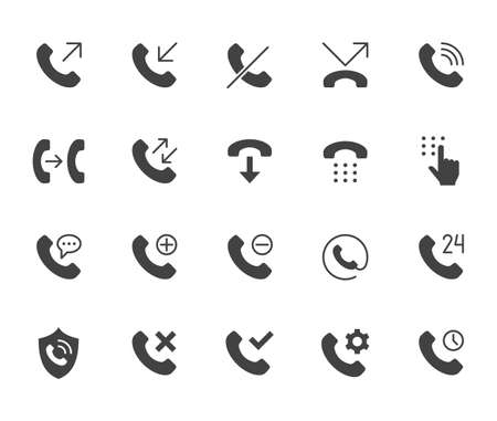 Phone call flat icons set. Answer telephone, dial contact, customer service, sms black minimal silhouette vector illustrations. Simple flat glyph sign for web support app.