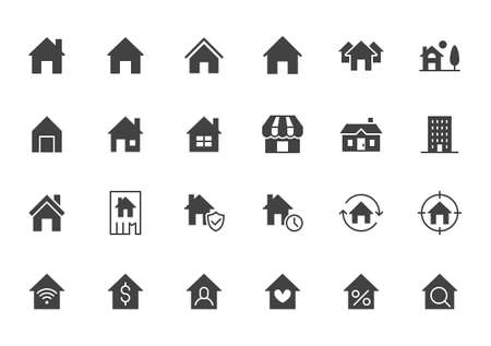 Home flat icons set. House, residential building, homepage, property mortgage black minimal silhouette vector illustrations. Simple flat glyph sign for web real estate app. 矢量图像