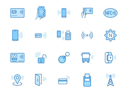 NFC line icon set. Near Field Communication technology, contactless payment, card with chip minimal vector illustration. Simple outline signs for smartphone pay. Blue color, Editable Stroke.