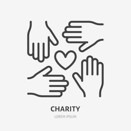 Volunteer organization flat line icon. Vector outline illustration of hands and heart. Black color thin linear sign for charity unity.