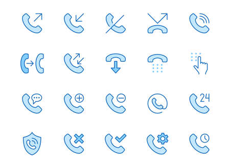 Phone call line icons set. Answer telephone, dial contact, customer service, sms minimal vector illustrations. Simple flat outline sign for web support app. Blue color, Editable Stroke.
