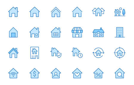 Home line icons set. House, residential building, homepage, property mortgage minimal vector illustrations. Simple flat outline sign for web real estate app. Blue color, Editable Stroke.