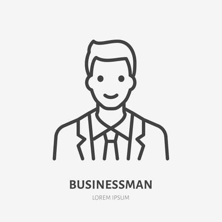 Businessman flat line icon. Vector outline illustration of man in suit. Black color thin linear sign for default simple profile. 矢量图像