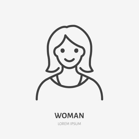 Woman flat line icon. Vector outline illustration of lady avatar. Black color thin linear sign for default simple profile. 矢量图像