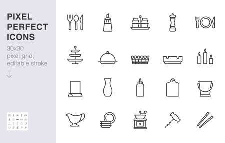 Crockery line icon set. Table setting - sugar bowl, salt shaker, fork, spoon, food sticks, ashtray minimal vector illustration. Simple outline sign of tableware. 30x30 Pixel Perfect, Editable Stroke.