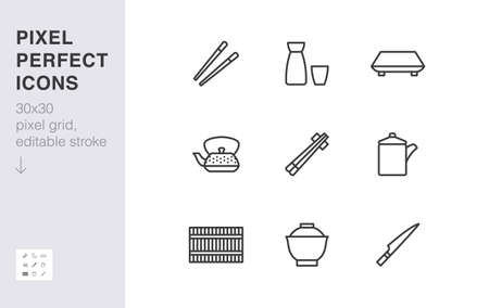 Japanese tableware line icon set. Chopsticks, sushi plate, sake, soup bowl, roll mat, soy sauce minimal vector illustration. Simple outline sign of asian food. 30x30 Pixel Perfect, Editable Stroke.