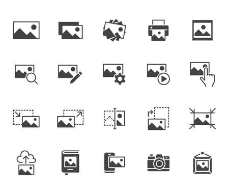 Photo flat icon set. Image gallery, picture frame, printer, file resize, camera black minimal silhouette vector illustrations. Simple glyph signs for photos editor application.