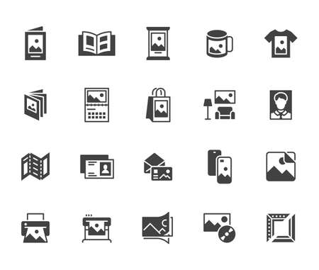 Photo printing flat icon set. Brand identity printed on products like brochure, banner, mug, plotter black silhouette vector illustrations. Simple glyph signs for polygraphy.