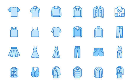 Clothing line icon set. Dress, polo t-shirt, jeans, winter coat, jacket pants, skirt minimal vector illustrations. Simple outline signs for fashion application. Blue color, Editable Stroke.